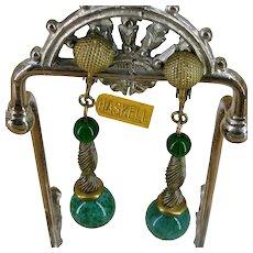 Vintage MIRIAM HASKELL Earrings ~DANGLE Green Glass ~Russian Gilt