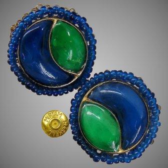 MIRIAM HASKELL Vintage Earrings Poured Glass, Cobalt 'n Emerald