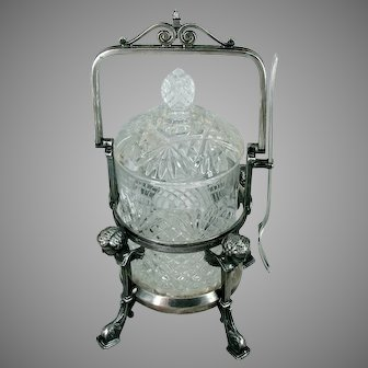 c.1882 REED & BARTON Pickle Caster, Archangel Supports on Dolphin Feet
