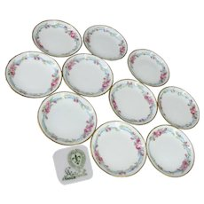 ~Art Nouveau Limoges~ ~Pink Roses 'n Blue Ribbon~ Wedding Wreath Pattern  ~Small Plates-Butter Pats~