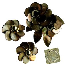 ~c.1940's FRENCH Set  ~ Signed Made in France  ~ Abalone Pin-Clip 'n Earrings~