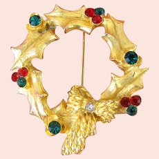 ~Vintage CHRISTMAS Wreath  ~ Brooch / Pin ~ Mylu c.1960's~