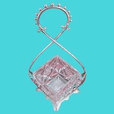 ~ JAMES W TUFTS 2498 ~ S.P. Jelly Holder w/Orig. Cut Glass ~ Bookpiece~