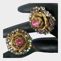 MIRIAM HASKELL Rose Flower Earrings ~Large Pink Rhinestones ~Halo of Mist Rose Montee