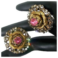 MIRIAM HASKELL Rose Flower Earrings ~Large Pink Rhinestones ~Halo of Mist Rose Montee