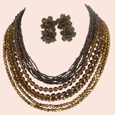 EUGENE Vintage All Glass ~13-Strand Necklace ~w/ Flower Earrings