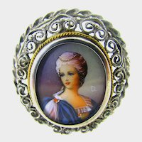 Antique ~Hand-Painted Lady ~935 Silver Pendant/Frame