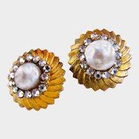 MIRIAM HASKELL Gilt ~Rhinestone Rose Montee ~Glass Pearls