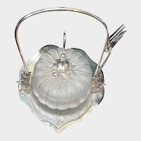 c.1880's Wilcox ~Blown Glass Melon Insert ~Silver Plate Lily Pad Caster/Holder