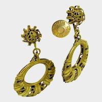 MIRIAM HASKELL Earrings ~Vintage Hoops ~w/ Russian Gilt Filigree