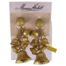 ~MIRIAM HASKELL Jingle Bells ~ Earrings-Long Chandeliers ~ Orig. Card~