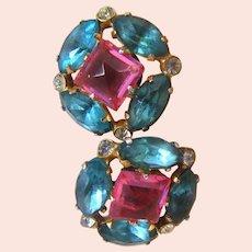 c.1940 CORO STERLING ~Earrings ~w/ Original Rhinestones