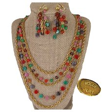 ~VOGUE JLRY ~  Chandelier Earrings 'n Multi Strand-Necklace ~ Vintage Art Glass~