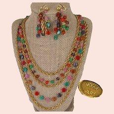 Vintage VOGUE JLRY Set ~Art Glass ~Chandelier Earrings 'n Multi Strand-Necklace