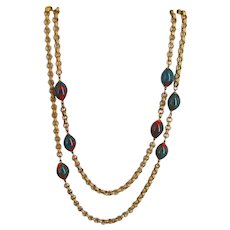 MIRIAM HASKELL-VRBA Long Necklace ~56 Inch Carved Rolo Chain ~Green/Red Glass