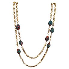 MIRIAM HASKELL Malachite Mimic ~Green/Red Glass ~56 Inch Rolo Chain