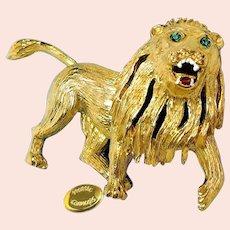 ~HATTIE CARNEGIE Broach ~ Gilt Roaring Lion ~  Near Mint w/Rhinestones 'n Enamel~