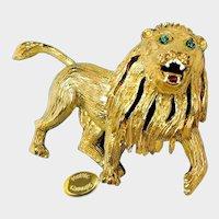HATTIE CARNEGIE Broach~ Gilt Roaring Lion~ Near Mint w/Rhinestones 'n Enamel