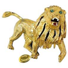 HATTIE CARNEGIE Roaring Lion ~Gilt w/Rhinestones  ~Enamel Accenting