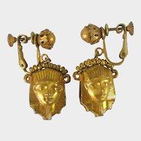 MIRIAM HASKELL Egyptian Earrings ~King Tut ~Golden Masks
