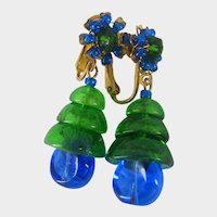 MIRIAM HASKELL Bookpiece Earrings ~Larry Vrba-Art Glass ~Blue 'n Green
