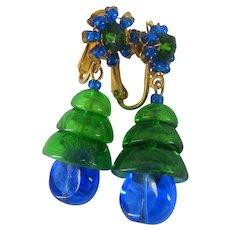 MIRIAM HASKELL Bookpiece Earrings ~Larry Vrba-Art Glass ~Blue & Green
