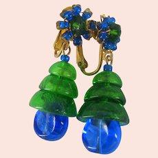 MIRIAM HASKELL Bookpiece Earrings ~Larry Vrba-Art Glass ~Blue 'n Green