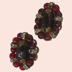 Vintage ROBERT Earrings ~Classic French Clip Backs ~Cranberry Glass & Rondelle