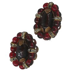 Vintage ROBERT Earrings ~French Clips ~Cranberry Glass, Gilt & Rhinestones