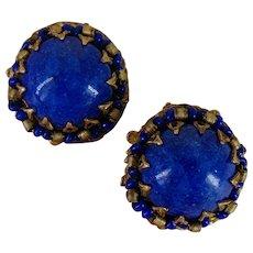 ~MIRIAM HASKELL Cobalt Blue ~ Earrings ~ Glass 'n Gilt Filigree~