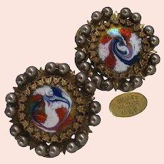 ~STANLEY HAGLER Enamel Earrings ~ Vintage Red, White & Blue ~ Gilt Filigree~