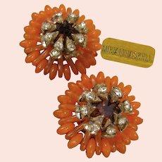 ~MIRIAM HASKELL Vintage Earrings ~Tangerine Glass ~Rhinestone Crowned