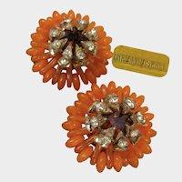 MIRIAM HASKELL Vintage Clip-ons ~Tangerine Glass ~Crowned w/Rhinestones