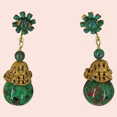 ~MIRIAM HASKELL Earrings ~ Vintage Glass Dangles ~ Russian Gilt Filigree~