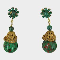 MIRIAM HASKELL Earrings ~Vintage Green & Red Glass ~Russian Gilt Filigree