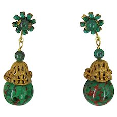 MIRIAM HASKELL Earrings ~Vintage Green 'n Red Glass ~Russian Gilt Filigree