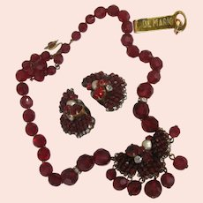 ~Vintage Red De MARIO ~ Necklace 'n Earrings Set ~Faceted Glass & Gilt~