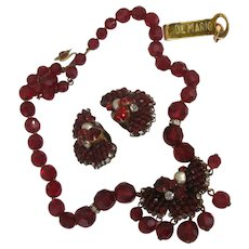 ~Vintage De MARIO Set  ~ Necklace & Earrings ~Deep Red Faceted Glass & Gilt~