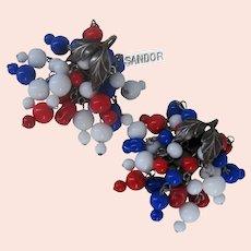 ~SANDOR Patriotic Earrings ~ Sterling 'n Glass ~ Chandelier 1940's~