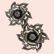 c.1940's Gold over Sterling ~Wild Rose Blossoms ~Jollé Earrings