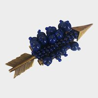 MIRIAM HASKELL Cupid's Arrow ~Dress Clip in Royal Blue ~Multiple Size Glass