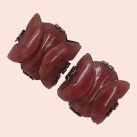 MEXICO SILVER (Coro) ~Hector AGUILAR Earrings c.1940's ~w/ Carved Red Onyx