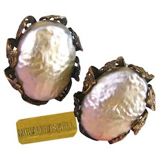 ~MIRIAM HASKELL Glass Pearl Earrings ~ Vintage Baroque Silver ~ Ornate Filigree Petals~