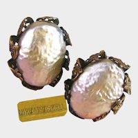 MIRIAM HASKELL Clip-Ons ~Baroque Glass Pearls ~Vintage Filigree Petals