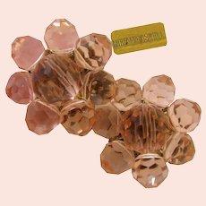 ~MIRIAM HASKELL Earrings ~ Rosalyn Pink ~ Vintage Faceted Glass 'n Gilt~