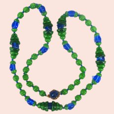 MIRIAM HASKELL Necklace ~Vintage ~Blue 'n Green Glass 'n Gilt