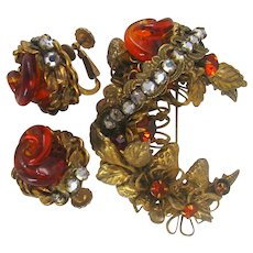 HASKELL Gilt Strawberries  ~Swirling Glass Amber, Gilt Foliage  ~Rose Montee
