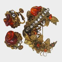 MIRIAM HASKELL Gilt Strawberries ~Swirling Glass Amber, Gilt Foliage  ~& Rose Montee