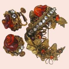 Vintage MIRIAM HASKELL Set ~Gilt Strawberries, Foliage ~'Liquid' Glass Amber & Rose Montee