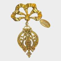 MIRIAM HASKELL Gilt ~Vintage Bow Brooch ~Medallion Drop